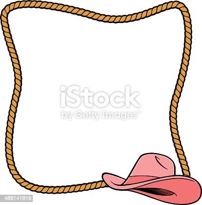 Rope frame and cowgirl hat stock vector art more images Rope photo frame