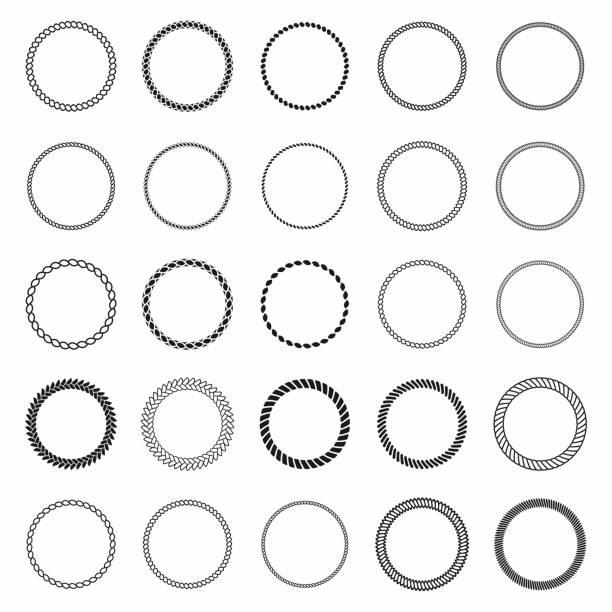 stockillustraties, clipart, cartoons en iconen met frame met touw. set ronde vector frames van nautische waxkoord. ronde mariene touw voor decoratie - touw