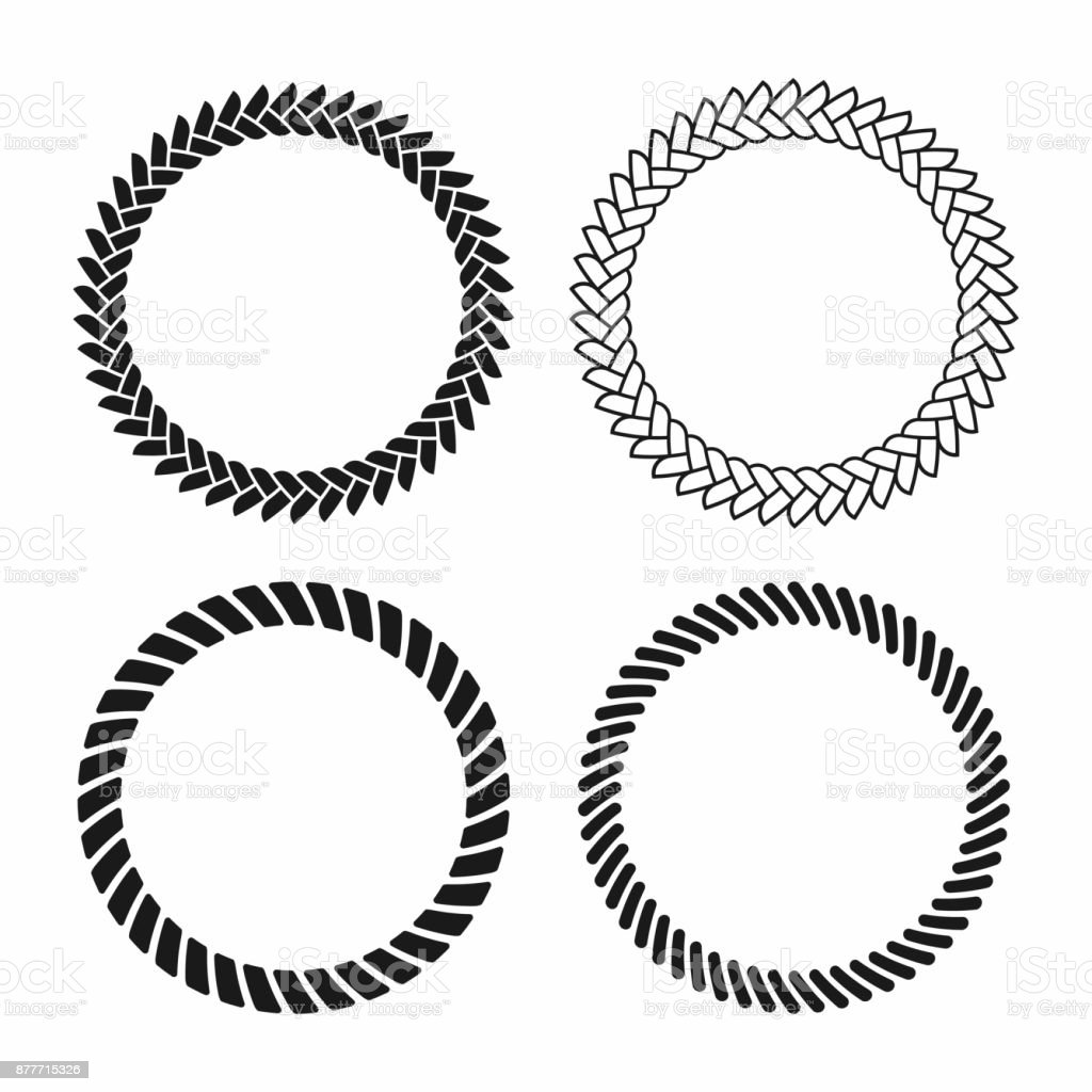 Rope frame. Set of round vector frames from nautical rope. Round marine rope for decoration vector art illustration