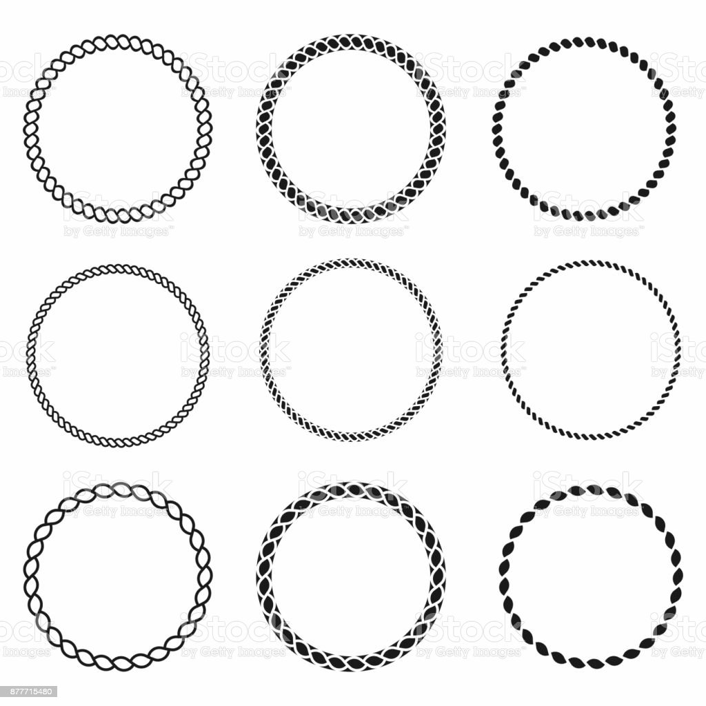 Rope Frame Set Of Round Vector Frames From Nautical Rope Round ...