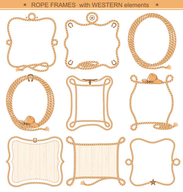 rope frames background for text with cowboy elements isolated - rodeo stock illustrations, clip art, cartoons, & icons