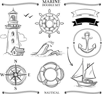 Rope frames, boats, marine knots, anchors nautical vector doodle set