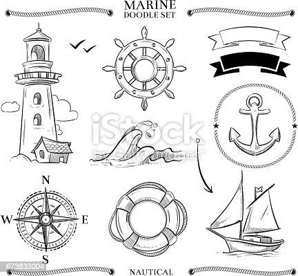 Rope Frames Boats Marine Knots Anchors Nautical Vector