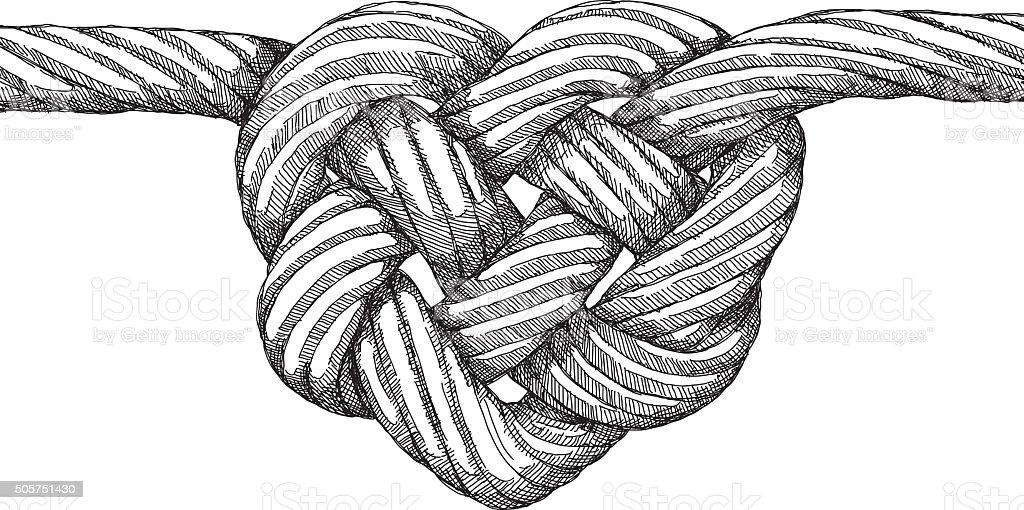 Rope Heart Knot vector art illustration