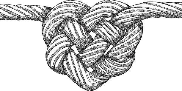 seil knoten herz - strickideen stock-grafiken, -clipart, -cartoons und -symbole
