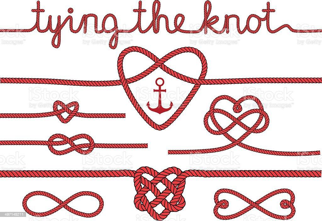 Herzen und Seil Knoten, Vektor-set – Vektorgrafik