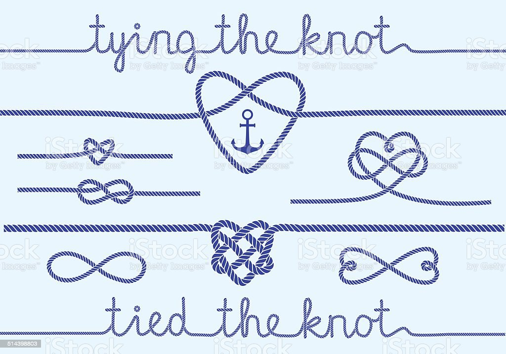rope hearts and knots, vector set vector art illustration
