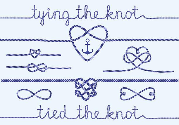 ilustrações, clipart, desenhos animados e ícones de corda corações e nós, vetor definido - nó