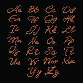 Rope imitation alphabet on black background