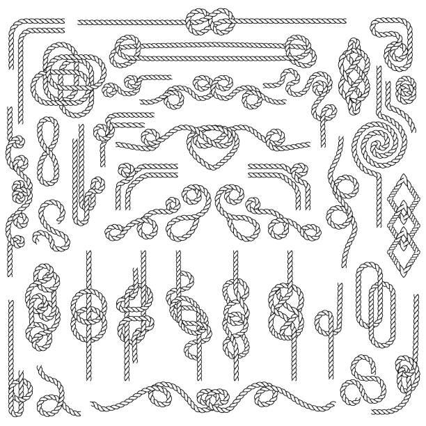 stockillustraties, clipart, cartoons en iconen met touw knoop. mariene touwfabrieken met nautische knopen. marine decoratie elementen - touw