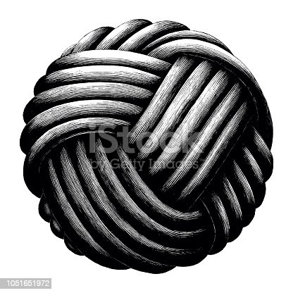 Rope knot sphere hand draw vintage clip art isolated on white background