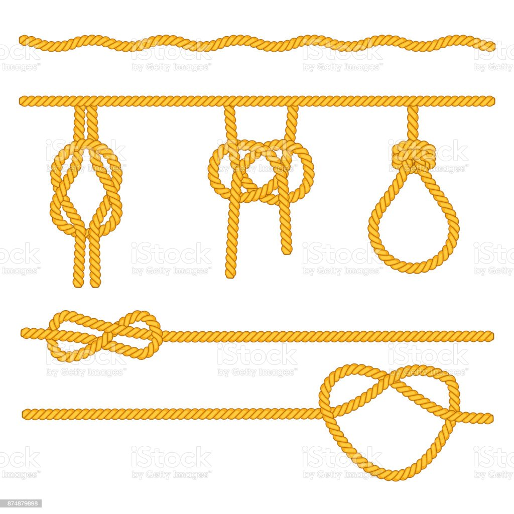 Rope knots collection. Decorative elements. Vector illustration. vector art illustration