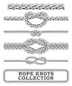 Rope knots collection. Overhand, Figure of eight and square knot.