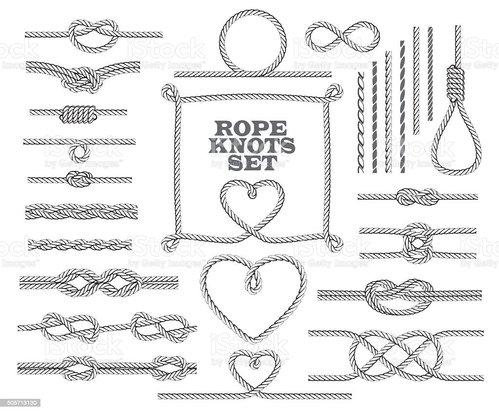 Rope knots collection. Seamless decorative elements. Vector illustration. vector art illustration