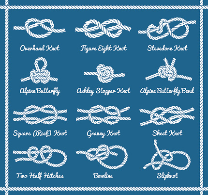 Rope knots, hitches, bows, bends. Part 1 / 3