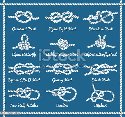 Set of rope knots, hitches, bows, bends. Decorative vector design. Part 1 of 3