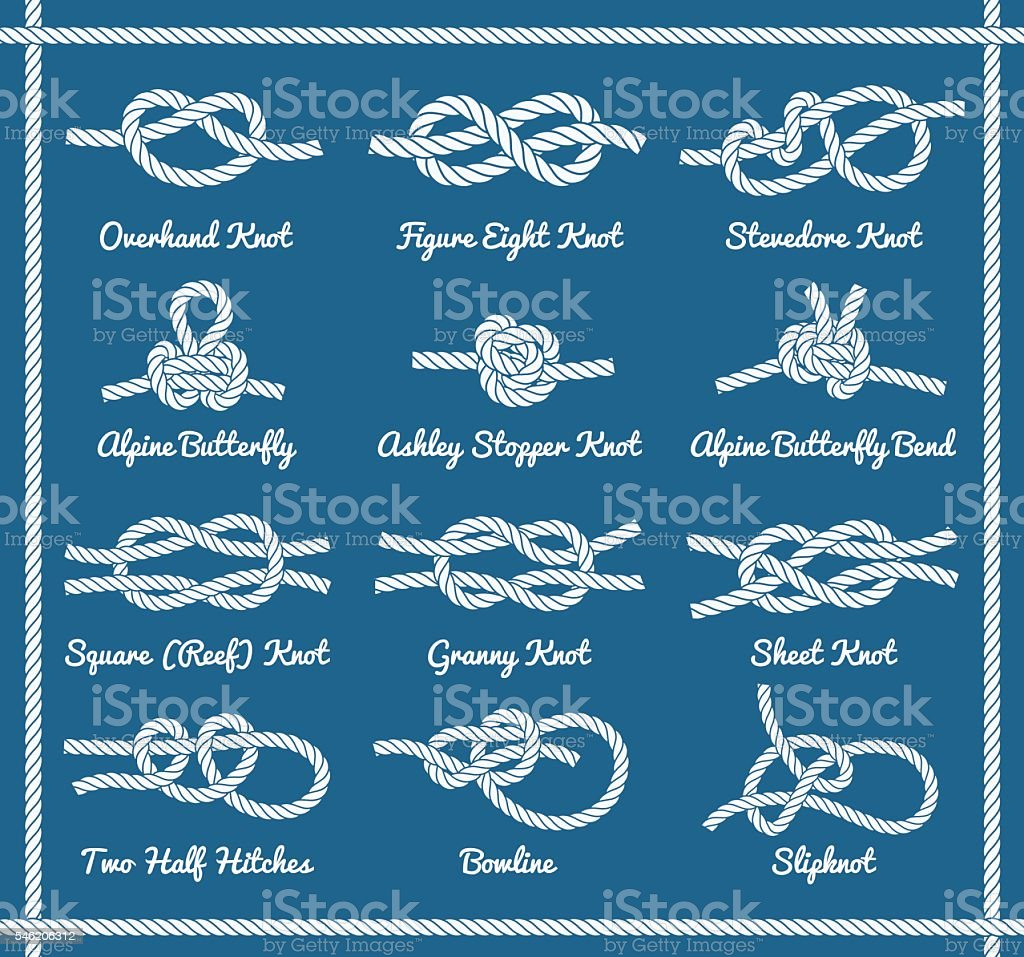 Rope knots, hitches, bows, bends. Part 1 / 3 vector art illustration