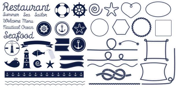 stockillustraties, clipart, cartoons en iconen met touw knopen. mariene touw knoop - touw