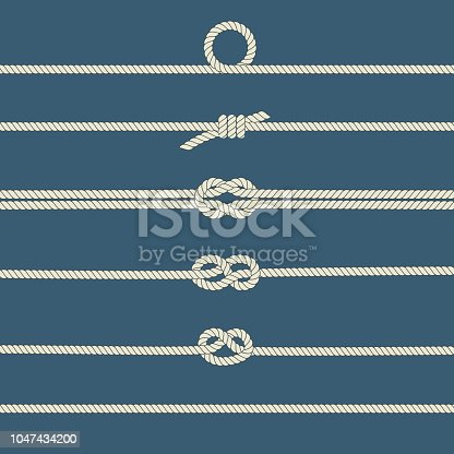 Rope knots. Seamless decorative elements. Vector illustration