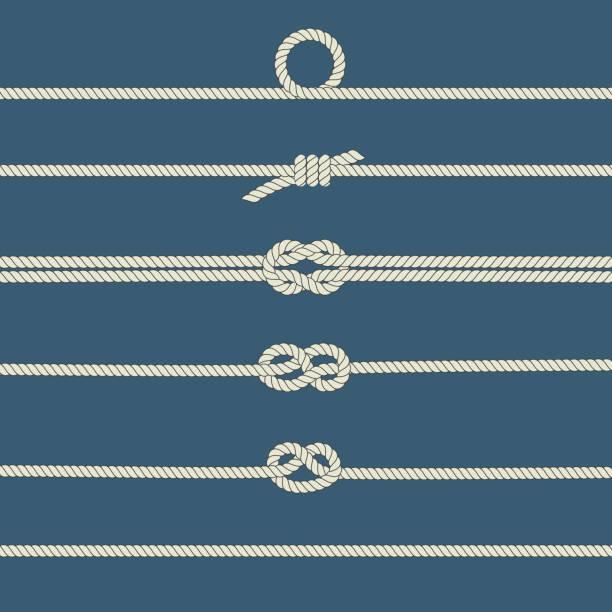stockillustraties, clipart, cartoons en iconen met touw knopen - touw