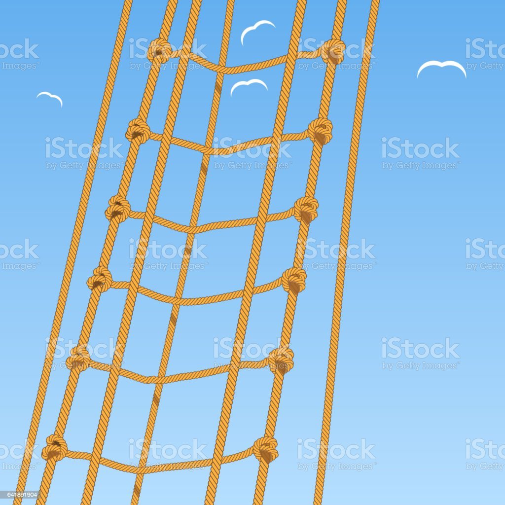 Rope Ladder Rope Reef Knot And Seagulls Stock Vector Art  for Rope Ladder Knot  45hul