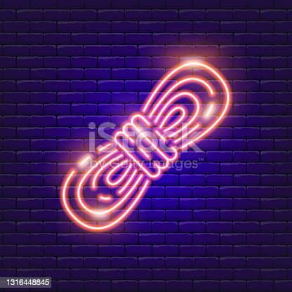istock Rope neon icon. Vector illustration for the design of advertising, website, promotion, banner, brochure, flyer. Concept of Hike, travel, camping. 1316448845