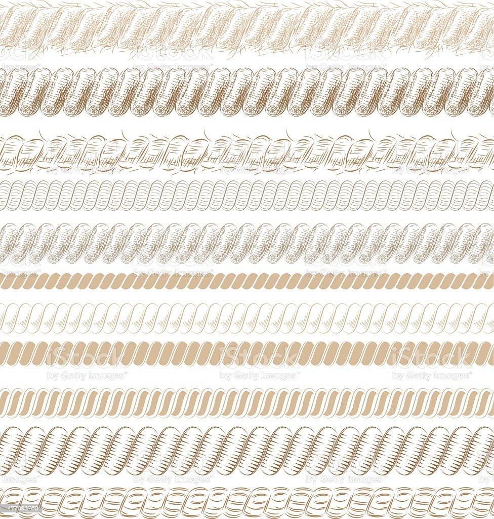 Rope rustic brushes vector art illustration