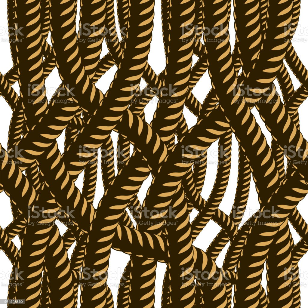Amazing Rope Seamless Pattern, Trendy Vector Wallpaper Background. Tangled Cord  Stylish Illustration. Usable For Nice Look