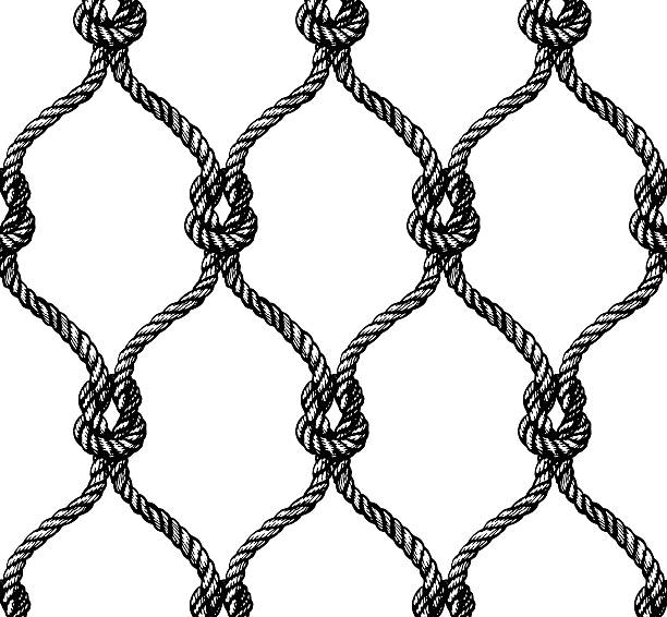 Rope seamless tied fishnet pattern Rope seamless tied fishnet pattern. Vector illustration knotted wood stock illustrations