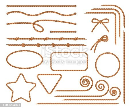 Rope. Set of various decorative rope elements. Rope frames, laces, knots and decorations. Nautical rope, shoe lacing, decorative binding of paper and fabric. Isolation. Vector illustration