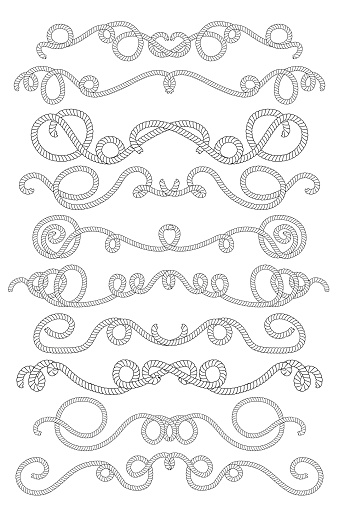 Rope text dividers in black and white. Summer marine vector clipart.
