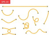 Rope with holes vector illustration.