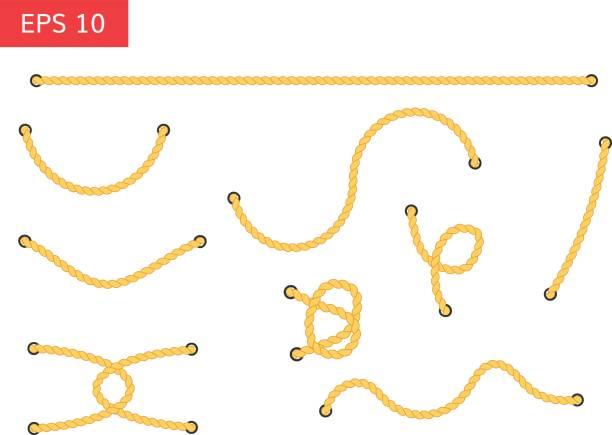 stockillustraties, clipart, cartoons en iconen met touw met gaten vectorillustratie. - lang lengte