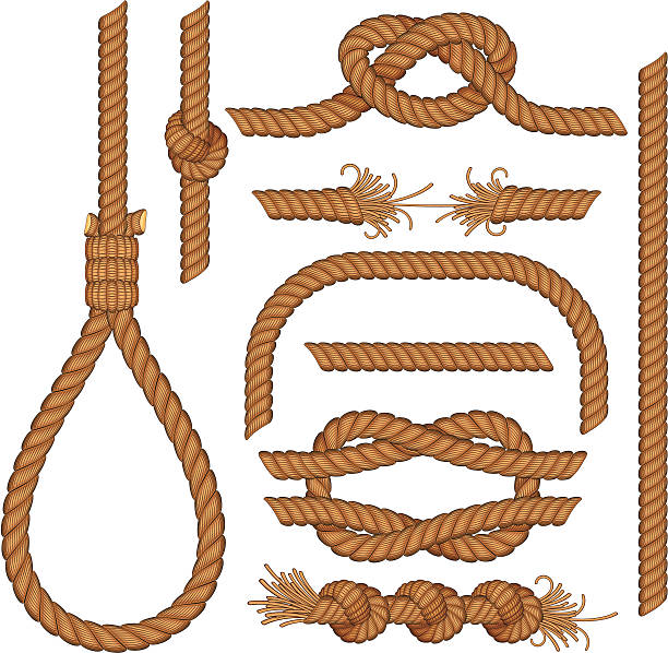 Ropes and knots  tied knot stock illustrations
