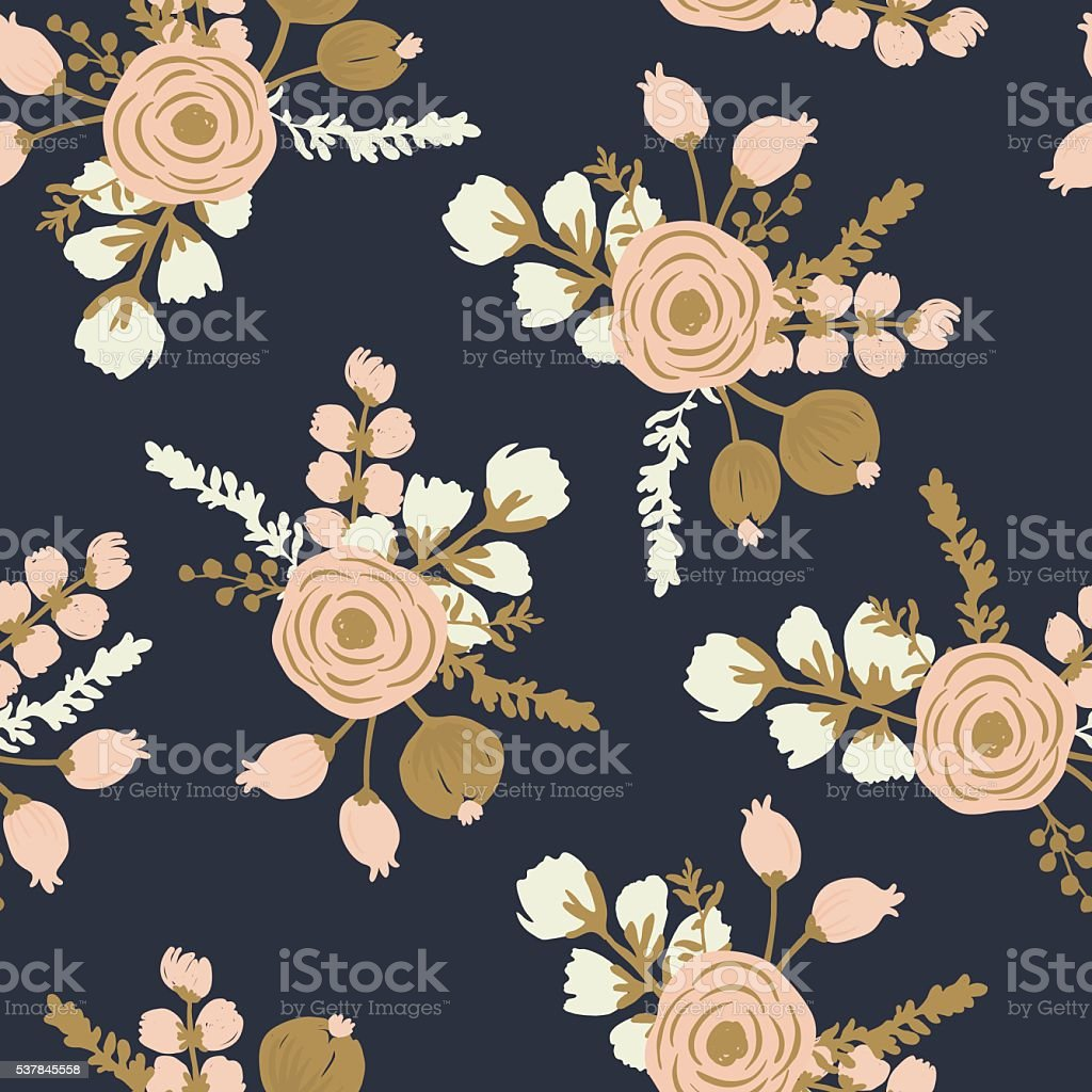 Rosa Blush Noisette. Hand drawn seamless modern floral pattern vector art illustration