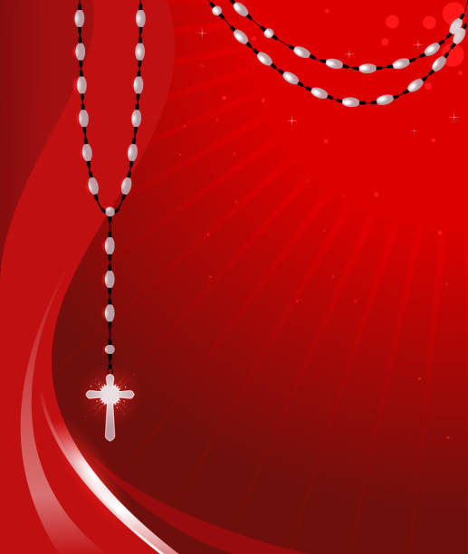 rosary-hintergrund - kreuzkette stock-grafiken, -clipart, -cartoons und -symbole