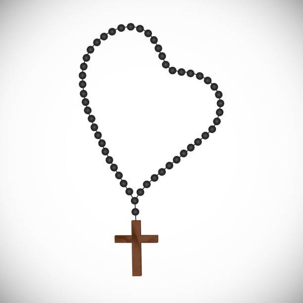 rosenkranz mit schwarzen perlen ein holzkreuz - kreuzkette stock-grafiken, -clipart, -cartoons und -symbole