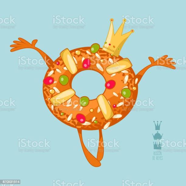 Roscon De Reyes Spanish Traditional Christmas Pastry - Arte vetorial de stock e mais imagens de Anel - Joia