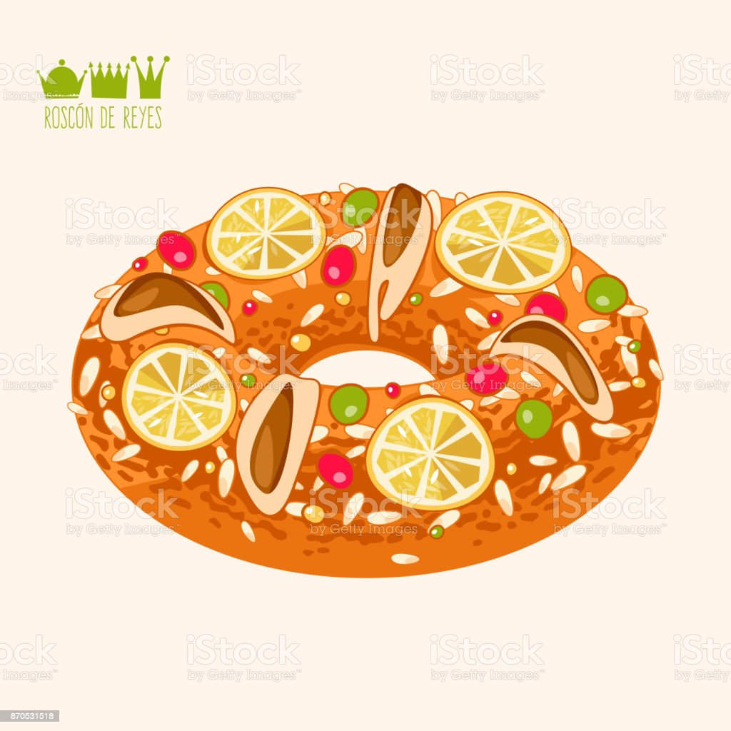 Roscon de Reyes (King's cake). Spanish traditional Christmas pastry. - Royalty-free Anel - Joia arte vetorial