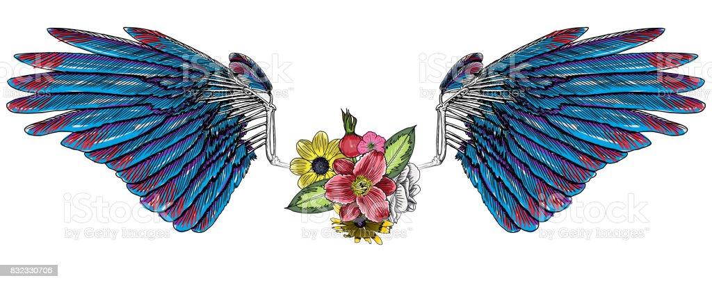 Ilustracion De Rosas Y Flores Con Alas De Angel O Pajaro Vintage