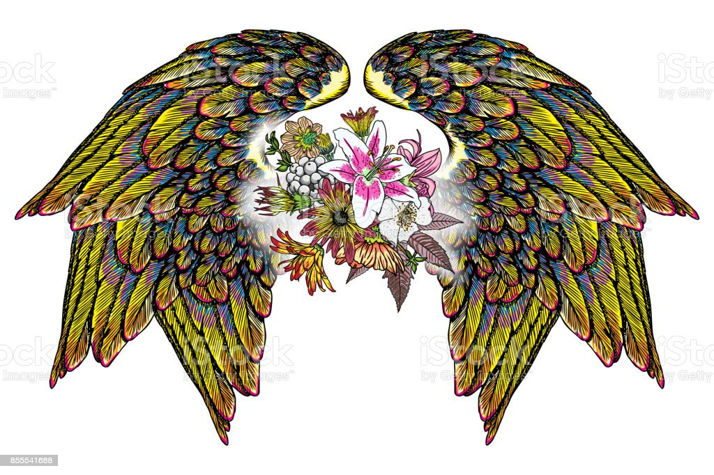 Rose And Flowers With Angel Or Bird Wings Vintage Floral Highly