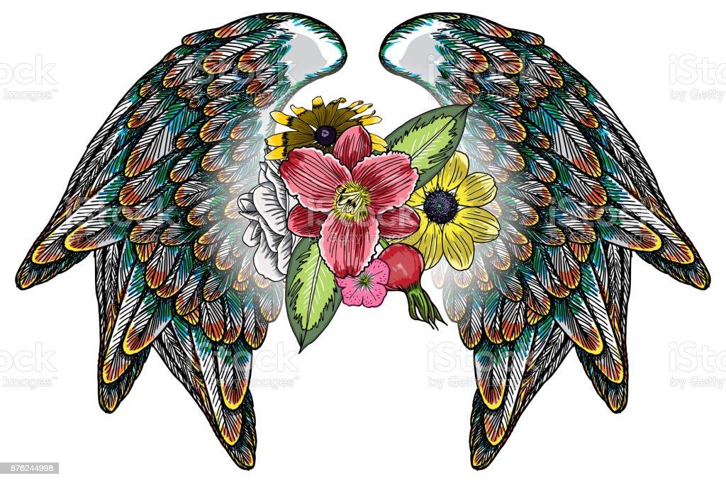 Ilustración de Rosas Y Flores Con Hojas Alas Chica Moda Parche O ...