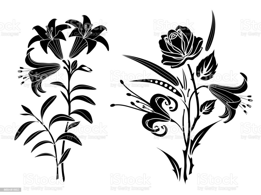 Rose And Lily Tattoo Silhouette Of Flowers And Leaves On A White