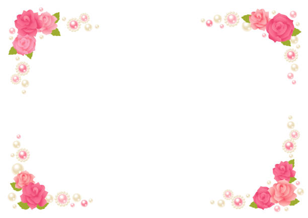 rose und perle rahmen. - perlenstrauß stock-grafiken, -clipart, -cartoons und -symbole