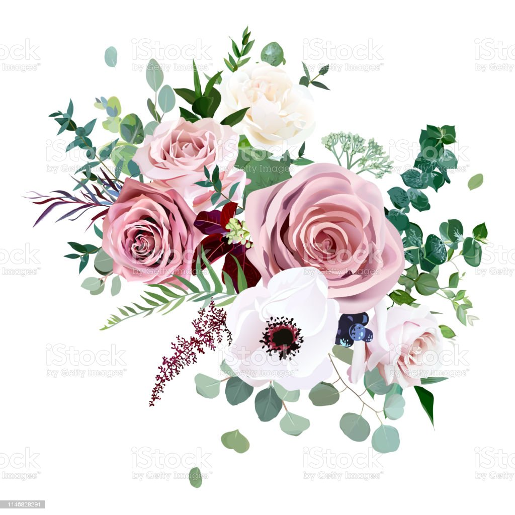 Rose Anemone Pale Flowers Vector Design Wedding Bouquet Stock Illustration Download Image Now Istock
