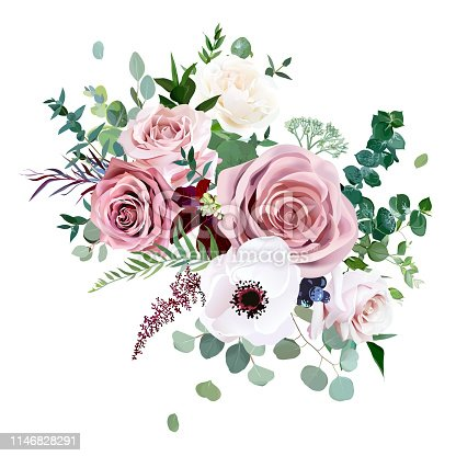 Dusty pink,creamy white antique rose, anemone,pale flowers vector design wedding bouquet.Eucalyptus, burgundy agonis,astilbe, greenery.Floral pastel watercolor style.Elements are isolated and editable