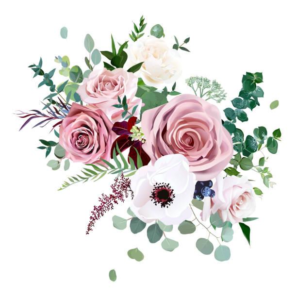 玫瑰, 海葵, 蒼白的花向量設計婚禮花束 - 淺粉色 幅插畫檔、美工圖案、卡通及圖標