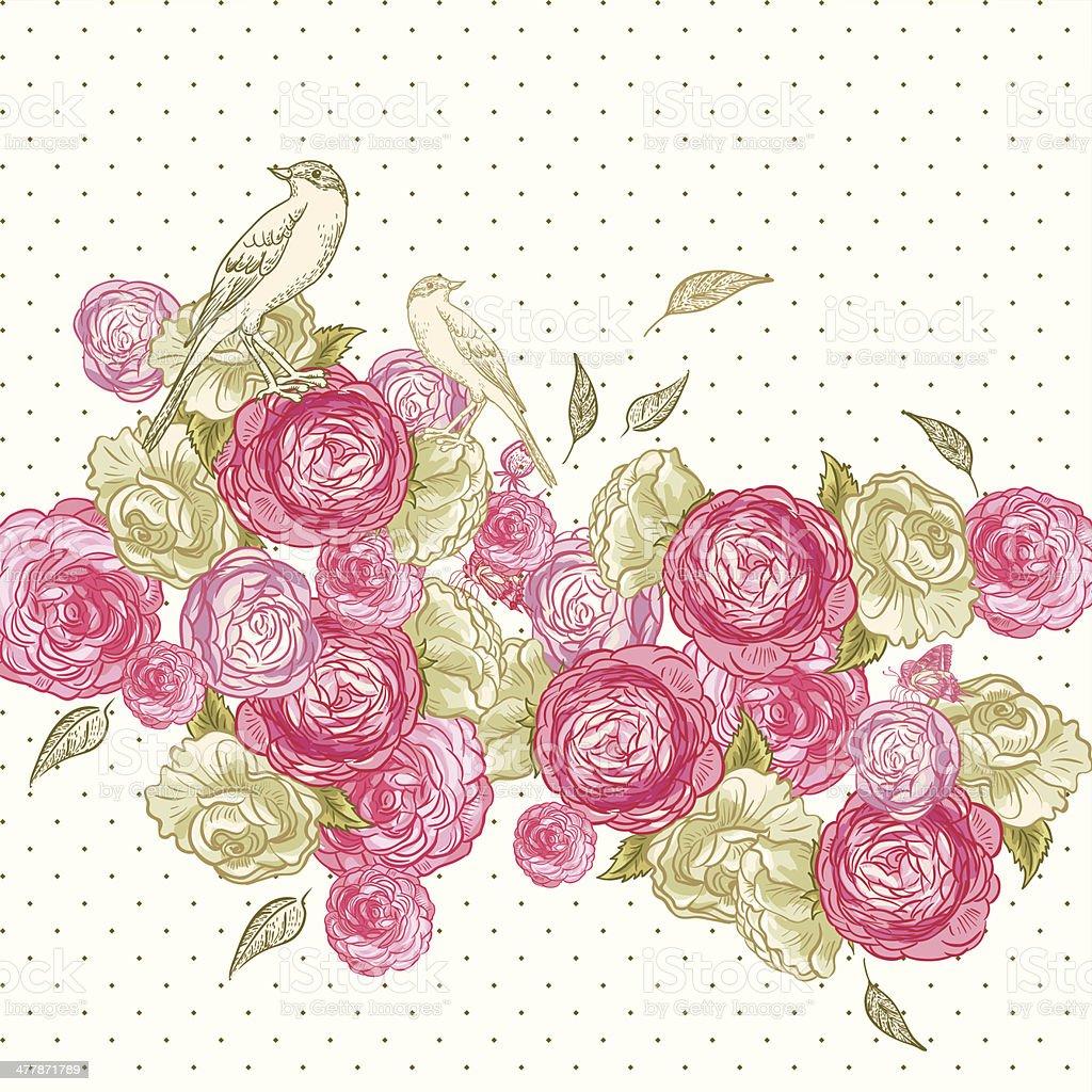 Rosa Sfondo Con Farfalle E Uccelli Immagini Vettoriali Stock E