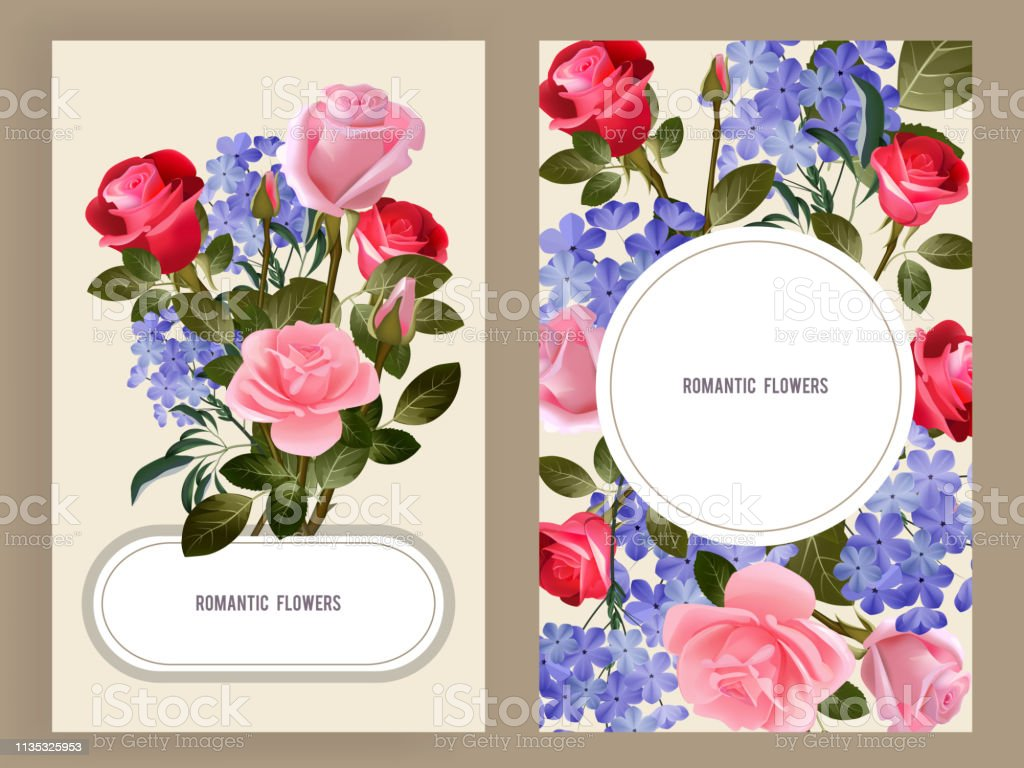 Rose cards. Woman spa cosmetic decoration of red and pink buds of...