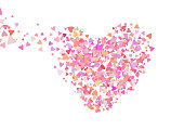 Rose color confetti with heart shapes. Romance pink background for Valentines Day, wedding invitation.